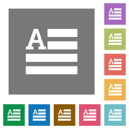 initial: Text initials flat icons on simple color square backgrounds