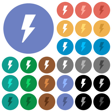 Flash multi colored flat icons on round backgrounds. Included white, light and dark icon variations for hover and active status effects, and bonus shades on black backgounds. Illustration