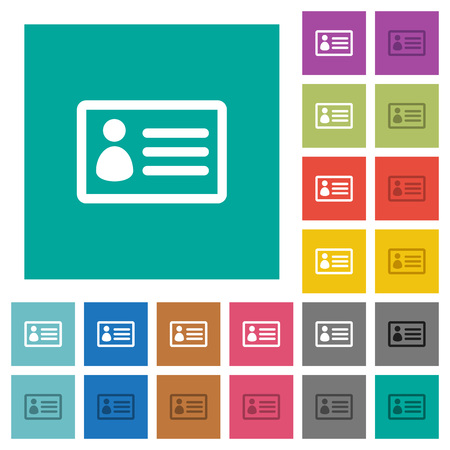 datasheet: ID card multi colored flat icons on plain square backgrounds. Included white and darker icon variations for hover or active effects.