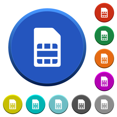 SIM card round color beveled buttons with smooth surfaces and flat white icons