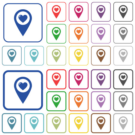 versions: Favorite GPS map location color flat icons in rounded square frames. Thin and thick versions included. Illustration