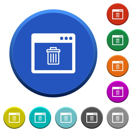 Application delete round color beveled buttons with smooth surfaces and flat white icons