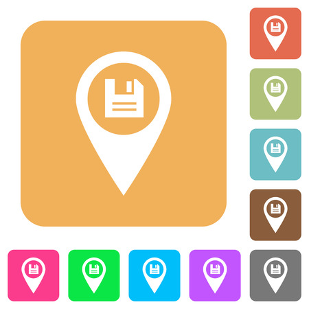 visualize: Save GPS map location flat icons on rounded square vivid color backgrounds.