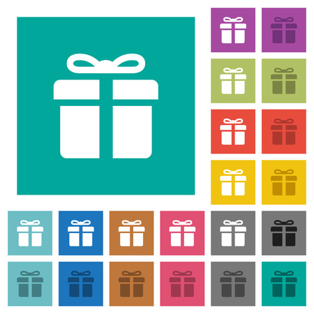 Gift box multi colored flat icons on plain square backgrounds.