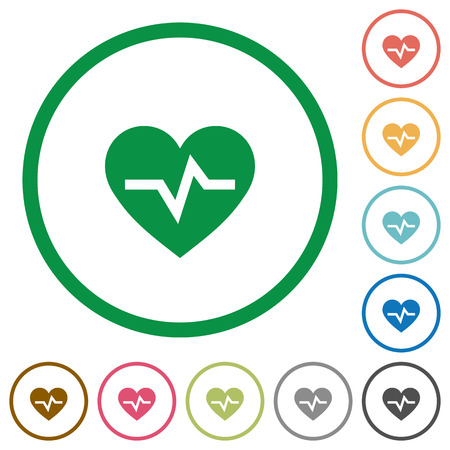 Heartbeat flat color icons in round outlines on white background
