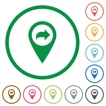 subsequent: Forward GPS map location flat color icons in round outlines on white background
