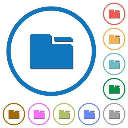 Tab folder flat color vector icons with shadows in round outlines on white background