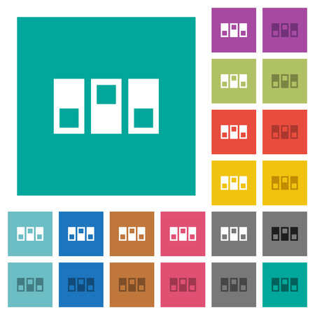 Switchboard multi colored flat icons on plain square backgrounds.