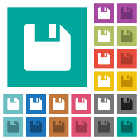 storage device: Save data multi colored flat icons on plain square backgrounds. Included white and darker icon variations for hover or active effects.