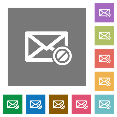 undesirable: Blocked mail flat icons on simple color square layout.