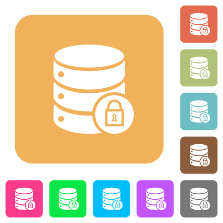 unaccessible: Database lock flat icons on rounded square vivid color backgrounds. Illustration