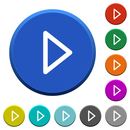 Media play round color beveled buttons with smooth surfaces and flat white icons Illustration