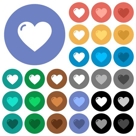 Heart shape multi colored flat icons on round backgrounds. Included white, light and dark icon variations for hover and active status effects, and bonus shades on black backgounds.