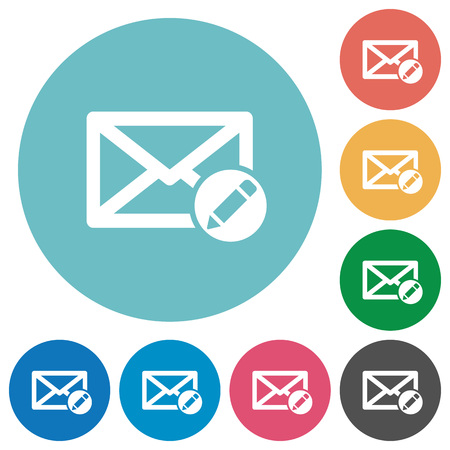Write mail flat white icons on round color backgrounds