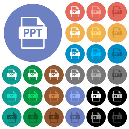 PPT file format multi colored flat icons on round backgrounds. Included white, light and dark icon variations for hover and active status effects, and bonus shades on black backgounds.