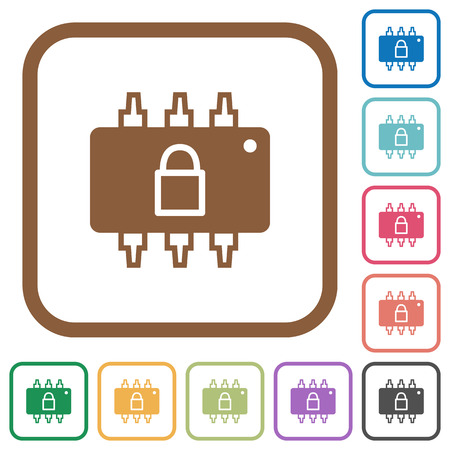 microprocessor: Hardware locked simple icons in color rounded square frames on white background