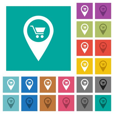 angular: Department store GPS map location multi colored flat icons on plain square backgrounds. Included white and darker icon variations for hover or active effects. Illustration