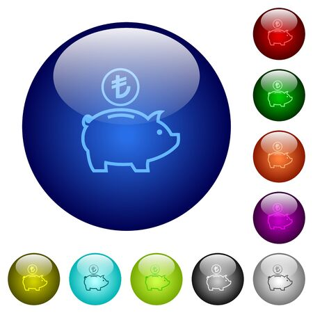 Turkish Lira piggy bank icons on round color glass buttons