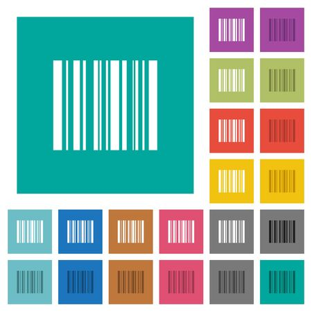 stockpile: Barcode multi colored flat icons on plain square backgrounds. Included white and darker icon variations for hover or active effects. Illustration