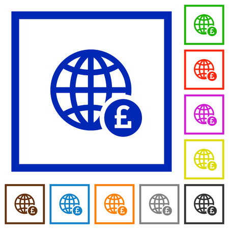 Online Pound payment flat color icons in square frames on white background