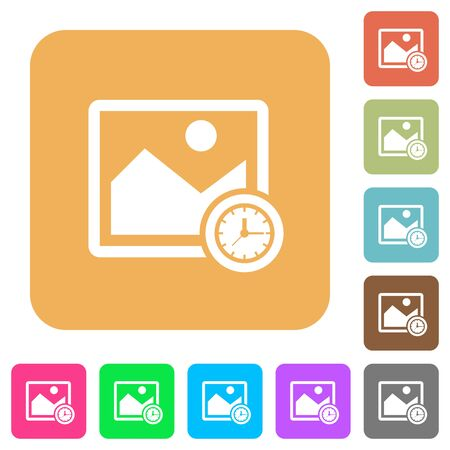 saved: Image time flat icons on rounded square vivid color backgrounds.