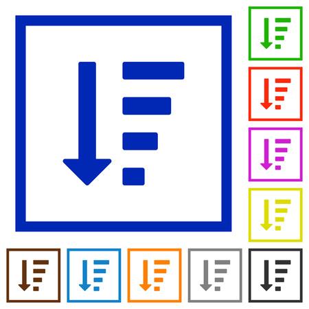 Descending ordered list mode flat color icons in square frames on white background Illustration