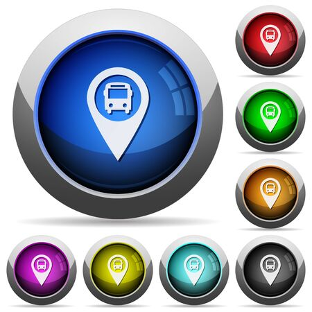 routing: Public transport GPS map location icons in round glossy buttons with steel frames Illustration