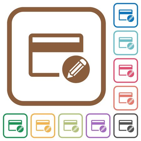 bankcard: Edit credit card simple icons in color rounded square frames on white background