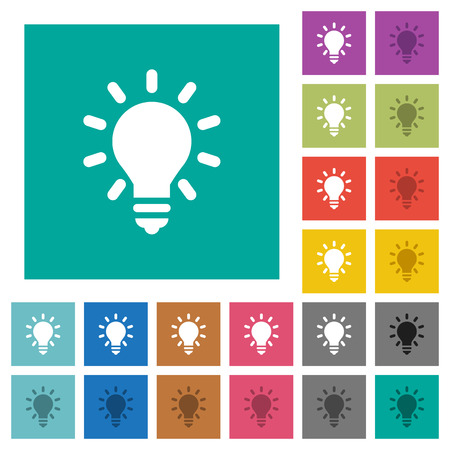Lighting bulb multi colored flat icons on plain square backgrounds. Included white and darker icon variations for hover or active effects. Illustration