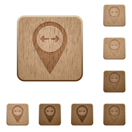 plank position: GPS map location distance on rounded square carved wooden button styles Illustration