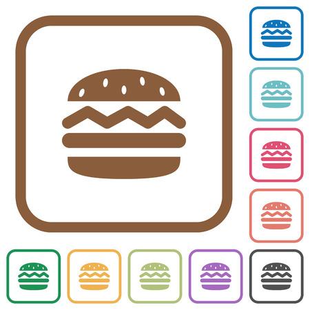 Hamburger einfache Symbole in Farbe gerundete quadratische Rahmen auf weißem Hintergrund Standard-Bild - 75380619