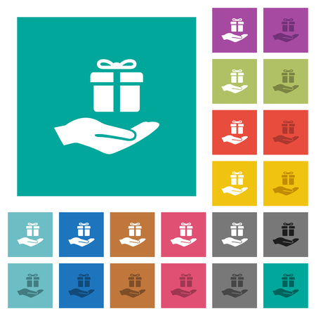 suprise: Gifting multi colored flat icons on plain square backgrounds. Included white and darker icon variations for hover or active effects.