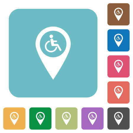 limitations: Disability accessibility GPS map location white flat icons on color rounded square backgrounds Illustration
