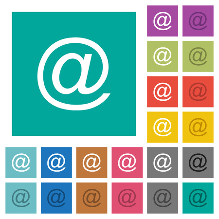 sender: Email symbol multi colored flat icons on plain square backgrounds. Included white and darker icon variations for hover or active effects.