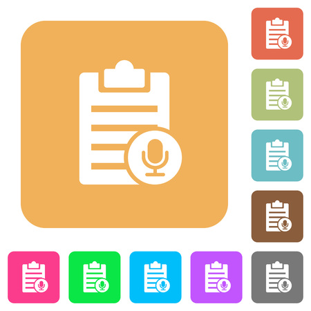 writing pad: Voice note flat icons on rounded square vivid color backgrounds.