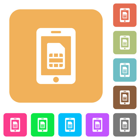 Mobile simcard flat icons on rounded square vivid color backgrounds.