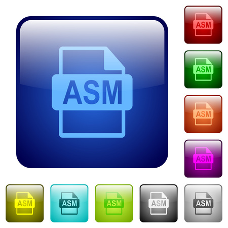 ASM file format icons in rounded square color glossy button set
