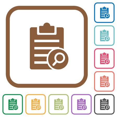 writing pad: Find note simple icons in color rounded square frames on white background