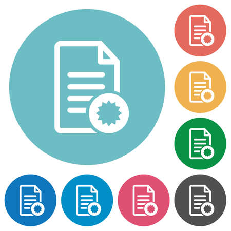 licence: Document certificate flat white icons on round color backgrounds