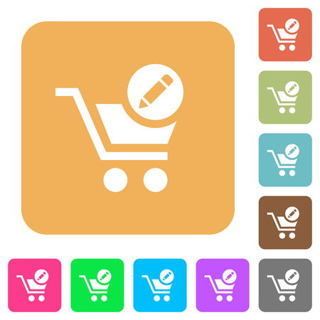 Edit cart items flat icons on rounded square vivid color backgrounds.