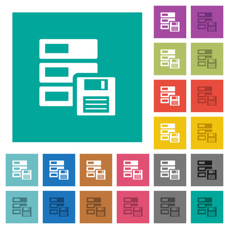 Data backup multi colored flat icons on plain square backgrounds. Included white and darker icon variations for hover or active effects. Illustration