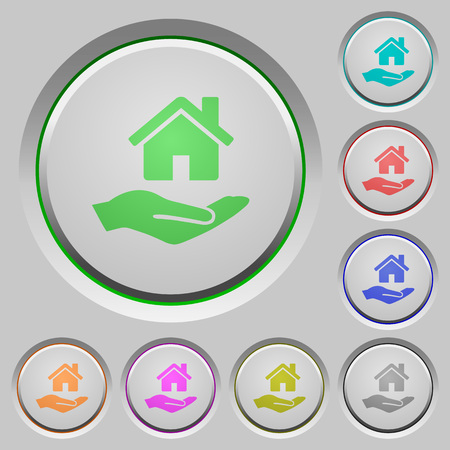 bevel: Home insurance color icons on sunk push buttons.