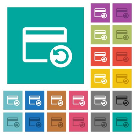 operation for: Undo credit card last operation multi colored flat icons on plain square backgrounds. Included white and darker icon variations for hover or active effects. Illustration