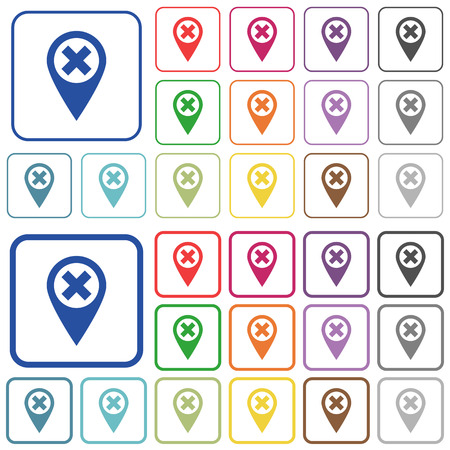 framed: Cancel GPS map location color flat icons in rounded square frames. Thin and thick versions included.