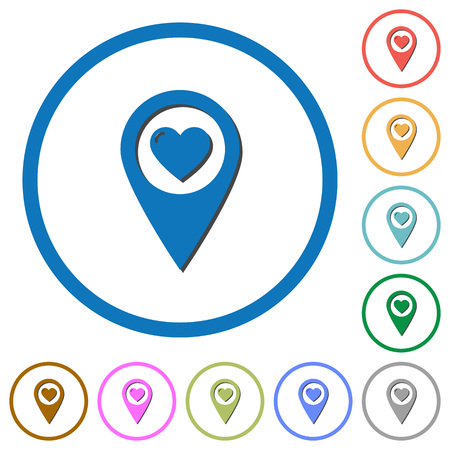 Favorite GPS map location flat color vector icons with shadows in round outlines on white background.