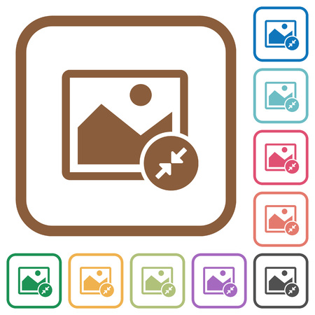 shrink: Resize image small simple icons in color rounded square frames on white background.