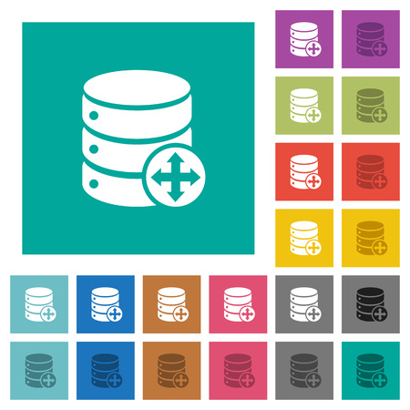sort: Move database multi colored flat icons on plain square backgrounds. Included white and darker icon variations for hover or active effects. Illustration