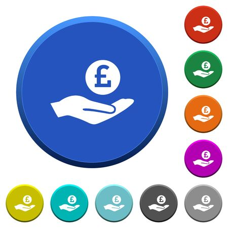 ledge: Pound earnings round color beveled buttons with smooth surfaces and flat white icons Illustration