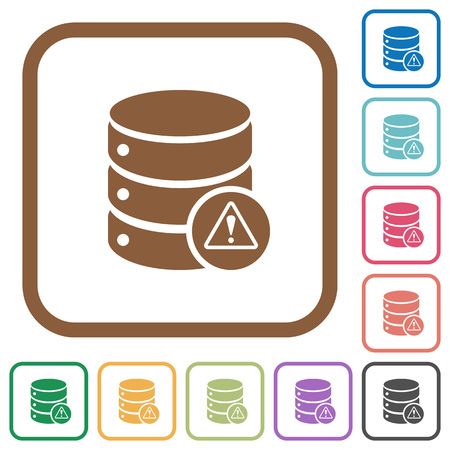 malfunction: Database error simple icons in color rounded square frames on white background Illustration