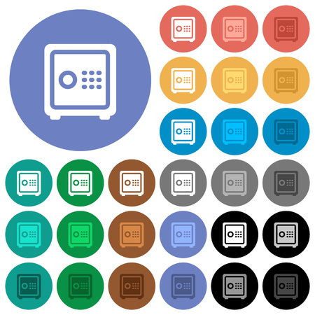 Strong box multi colored flat icons on round backgrounds. Included white, light and dark icon variations for hover and active status effects, and bonus shades on black backgounds. Illustration
